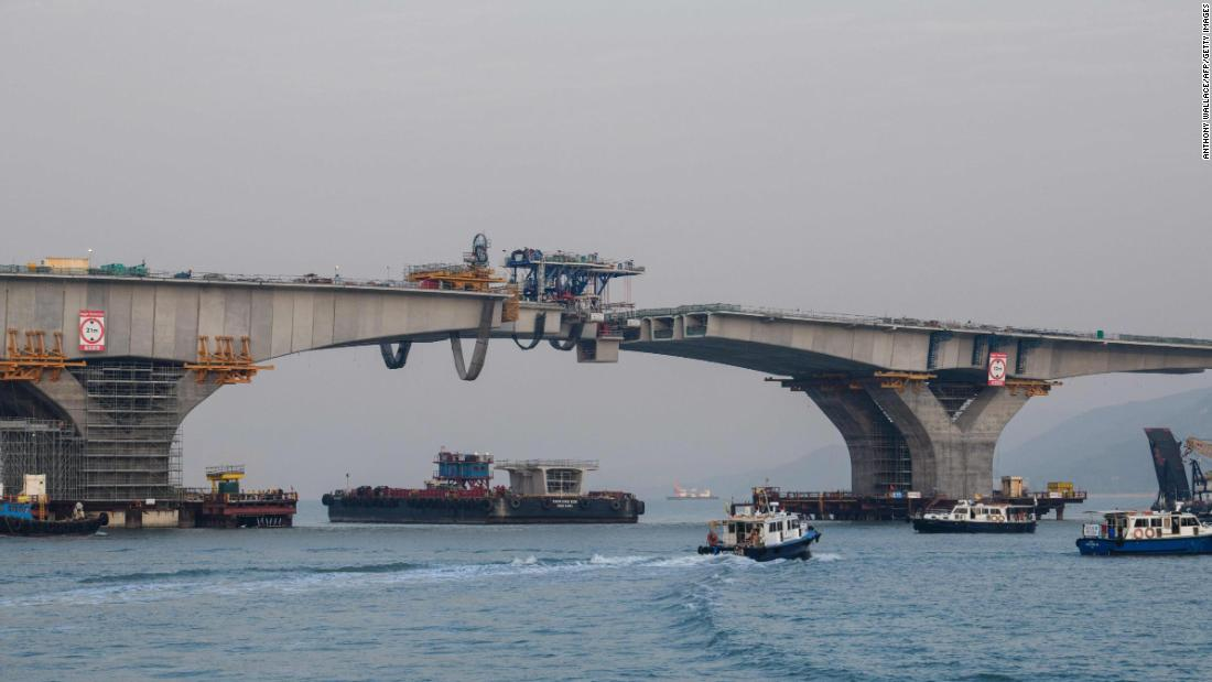 The Hong Kong-Zhuhai-Macau bridge under construction. After multiple delays, the bridge is due to open in summer 2018. It is considered an engineering wonder and its supporters say it will boost connectivity and tourism in the region. Critics argue that the $20 billion infrastructure mega-project is politically driven and a costly white elephant.