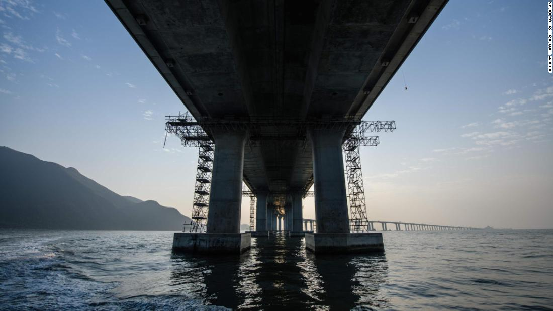 The Hong Kong-Zhuhai-Macau Bridge -- from underneath.