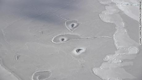 This NASA image shows unexplained holes in the surface of some ice in the Beaufort Sea.