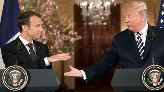 French President Emmanuel Macron (L) and US President Donald Trump (R) give a joint press conference at the White House in Washington, DC, on April 24, 2018. (Photo by LUDOVIC MARIN / AFP)        (Photo credit should read LUDOVIC MARIN/AFP/Getty Images)