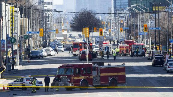 An overview of the scene in Toronto. Police arrested suspect Alek Minassian, of Richmond Hill, Ontario, in a white rental van less than 30 minutes after receiving a 911 call about the incident.