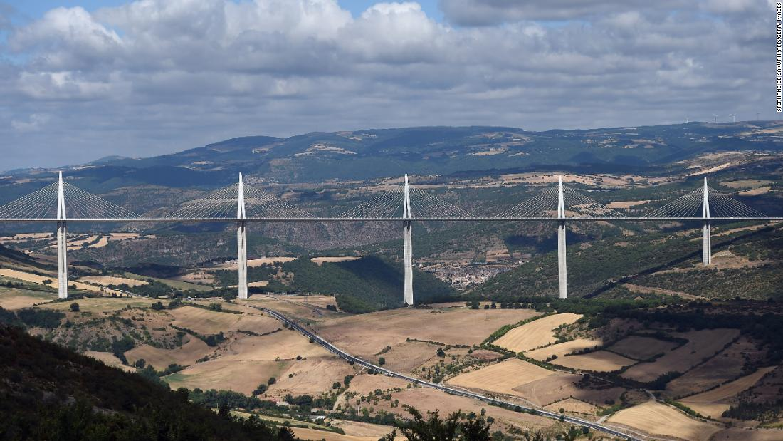 The breathtaking Millau Viaduct Bridge in southwestern France, designed by English architect Norman Foster and completed in 2004, measures 1,125 feet at its tallest point.