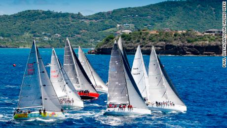 Boats race off the start line during the 2017 Antigua Sailing Week.