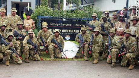 Members of the 51st Battalion of the Far North Queensland Regiment at the opening of Sarpeye Barracks in March.