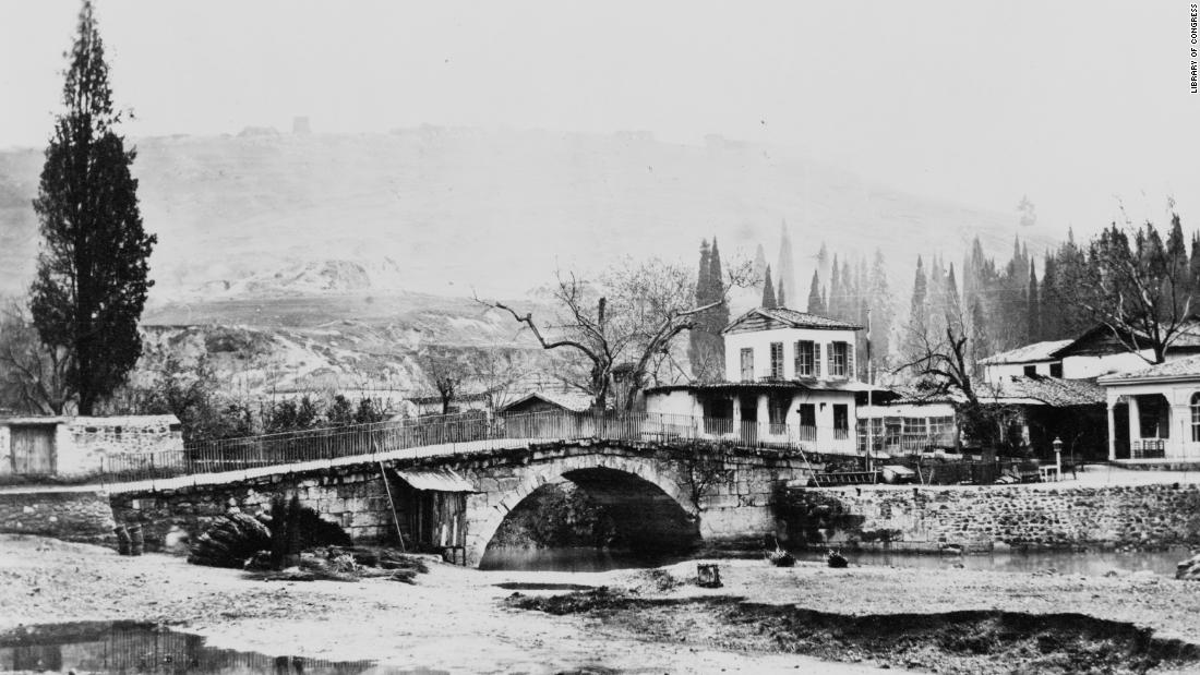 Photographed in the late 19th century the Caravan Bridge in the city of Izmir, Turkey, was built in 850 BC and is still standing -- and in use -- today.
