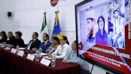 Pictures of three missing film students are displayed during a press conference in which Jalisco State's Attorney General Raul Sanchez Jimenez confirmed they were found dead, in Guadalajara, Jalisco, Mexico on April 23, 2018. - Three Mexican film students who went missing five weeks ago were kidnapped, tortured, killed and likely dissolved in acid, investigators said Monday, a gruesome end to a case that triggered vehement protests. DNA tests will be carried out to determine whether the students' bodies were dissolved in the acid, chief investigator Lizette Torres said. (Photo by ULISES RUIZ / AFP)        (Photo credit should read ULISES RUIZ/AFP/Getty Images)