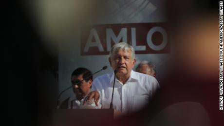 MEXICO CITY, MEXICO - APRIL 20: Andres Manuel Lopez Obrador, presidential candidate of the National Regeneration Movement Party (MORENA), talks during an Election Campaign Event on April 20, 2018 in Mexico City, Mexico. (Photo by Hector Vivas/Getty Images)