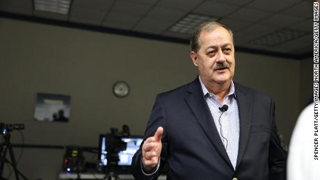 MORGANTOWN, WV - MARCH 01:  Republican candidate for U.S. Senate Don Blankenship speaks at a town hall meeting at West Virginia University on March 1, 2018 in Morgantown, West Virginia. Blankenship is the former chief executive of the Massey Energy Company where an explosion in the Upper Big Branch coal mine killed 29 men in 2010.  Blankenship, a controversial candidate in central Appalachia coal country, served a one-year sentence for conspiracy to violate mine safety laws and has continued to blame the government for the accident despite investigators findings.  (Photo by Spencer Platt/Getty Images)