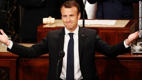 French President Emmanuel Macron gestures as he arrives for his address to a joint meeting of Congress on Capitol Hill in Washington, Wednesday, April 25, 2018. (AP Photo/Pablo Martinez Monsivais)
