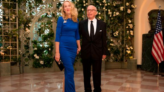 Rupert Murdoch and his wife Jerry Hall arrive for the White House State Dinner.