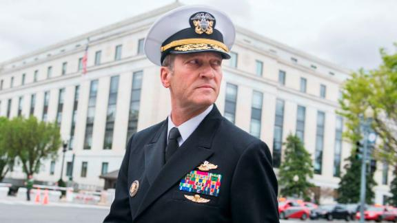 UNITED STATES - APRIL 24: Rear Adm. Ronny Jackson, nominee for Veterans Affairs secretary, leaves Dirksen Building after a meeting on Capitol Hill with Sen. Jerry Moran, R-Kan., on April 24, 2018. (Photo By Tom Williams/CQ Roll Call)