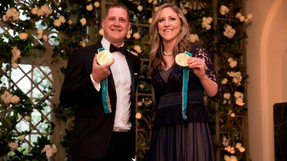 Olympians John Shuster and Meghan Duggan.