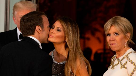 WASHINGTON, DC - APRIL 24: U.S President Donald Trump and U.S. first lady Melania Trump greet French President Emmanuel Macron and French first lady Brigitte Macron after their arrival at the North Portico before a State Dinner at the White House, April 24, 2018 in Washington, DC. Trump is hosting Macron for a two-day official visit that included dinner at George Washington's Mount Vernon, a tree planting on the White House South Lawn and a joint news conference. (Photo by Alex Edelman-Pool/Getty Images)