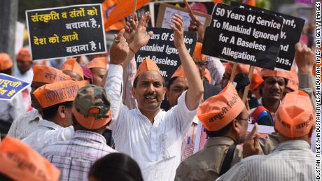 Supporters of self-styled spiritual leader Asaram Bapu, shout slogans to demand his release during a protest march, March 6, 2016 in New Delhi, India.