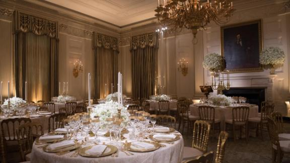 The State Dining Room ahead of Tuesday's dinner.