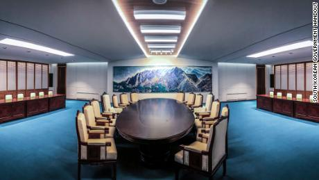 The room where Kim Jong Un and Moon Jae-in will meet during Friday's inter-Korean summit.