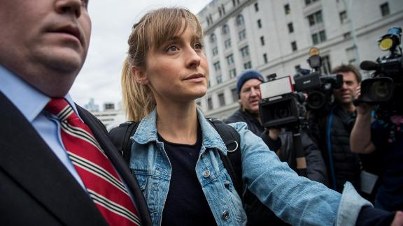 Actress Allison Mack leaves U.S. District Court for the Eastern District of New York after a bail hearing, April 24, 2018 in the Brooklyn borough of New York City.