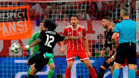 With Bayern Munich leading 1-0, Marcelo began Real Madrid's comeback.