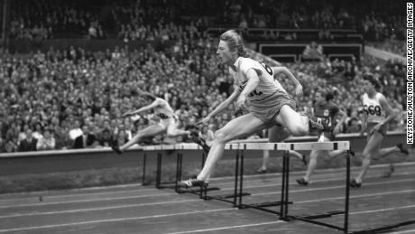 Dutch athlete Fanny Blankers-Koen during the final of the Olympic Women's 80 metres hurdles which she won. Maureen Gardner (Britain) was second and Shirley Strickland (Australia) third. In total she won four gold medals in these Olympics.   (Photo by Keystone/Getty Images)
