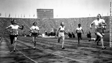 Blankers-Koen, far right, finishes first in the Women's 100m during the 1948 Olympics at Wembley Stadium.