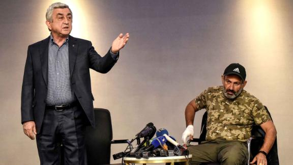 Former Armenian Prime Minister  Serzh Sargsyan during the televised meeting with Nikol Pashinyan last month.