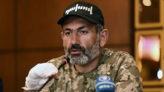 Protest leader Nikol Pashinyan during a press conference last month.