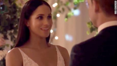 27d945ae43 Meghan Markle walks down aisle on  Suits  - CNN Video