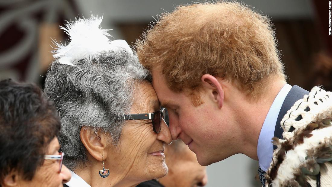 "Harry performs a ""hongi"" (traditional Maori greeting) while on a trip to New Zealand. Wanganui, New Zealand, May 2015."