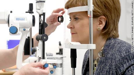 HADDINGTON, SCOTLAND - MARCH 21:  First Minister of Scotland Nicola Sturgeon is given an eye test by ophthalmologist Dr Ida Boron during a visit to the Out-Patients Department at the new East Lothian Community Hospital on March 21, 2018 in Haddington, Scotland. (Photo byJane Barlow - WPA Pool / Getty Images)