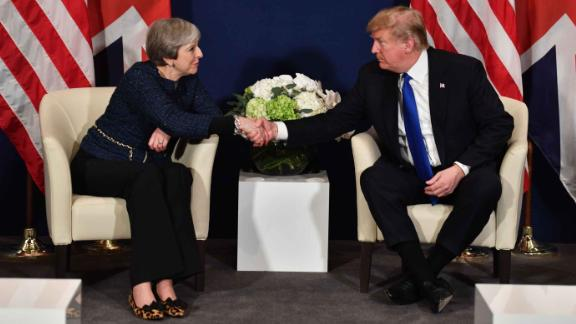 Theresa May with Donald Trump at the 2018 World Economic Forum in Davos.
