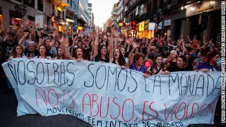 "MADRID, SPAIN - APRIL 26:  Protesters carry a banner reading 'We are the wolf pack. It not abuse, it is rape"" during a demonstration against the verdict of the 'La Manada' (Wolf Pack) gang case on April 26, 2018 in Madrid, Spain. The High Court of Navarra has given a sentence of 9 years in prison to five men for 'continued sexual abuse' instead of 'rape', which they would have recieved around 22 years in prison. The gang assaulted an 18-year-old woman in Pamplona, during the San Fermin Festival in 2016. Feminists and women's rights groups have called for demonstrations across Spain.  (Photo by Pablo Blazquez Dominguez/Getty Images)"