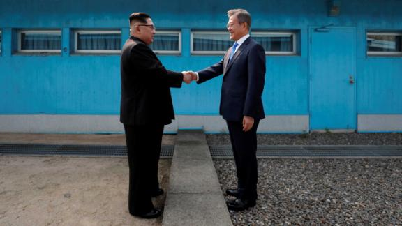 South Korean President Moon Jae-in and North Korean leader Kim Jong-un meet at the Military Demarcation Line at the DMZ, April 27.