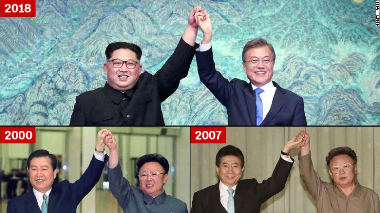 Kim Jong Un and Moon Jae-in, top; Kim Dae-jung and Kim Jong Il, bottom left; and Kim Jong Il and Roh Moo-hyun, bottom right.