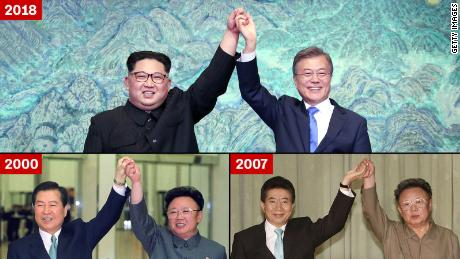 Kim Jong Un and Moon Jae-in, top; Kim Dae-jung and Kim Jong Il, bottom left; and Kim Jong Il and Roh Moo-hyun, bottom right.