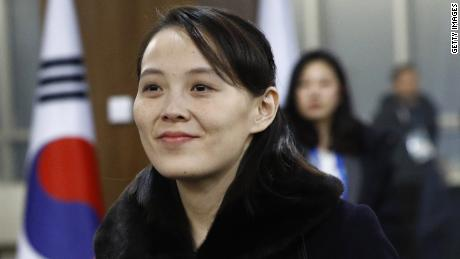 PYEONGCHANG-GUN, SOUTH KOREA - FEBRUARY 09:  (EDITORS NOTE: Alternate crop of #916122914) Kim Yo Jong, sister of North Korean leader Kim Jong Un, arrives at the opening ceremony of the PyeongChang 2018 Winter Olympic Games at PyeongChang Olympic Stadium on February 9, 2018 in Pyeongchang-gun, South Korea.  (Photo by Patrick Semansky - Pool /Getty Images)