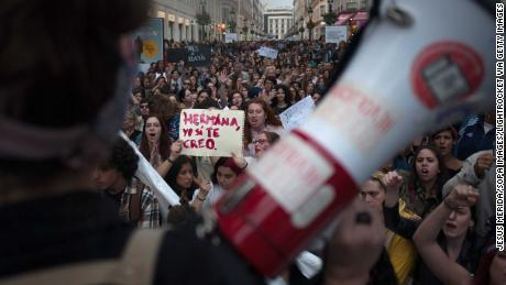 Rallies in Spain after 5 men cleared of rape in 'wolf pack' case