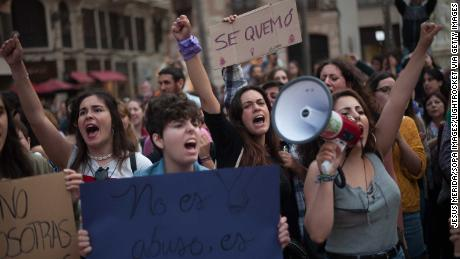 Women take part in a demonstration Thursday in Málaga, Spain, against the sexual abuse of women.