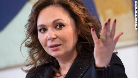 Russian lawyer Natalia Veselnitskaya speaks during an interview with The Associated Press in Moscow, Russia, Sunday, April 22, 2018. Veselnitskaya who discussed sanctions with Donald Trump Jr. in New York during the 2016 campaign told The Associated Press in an interview that she has not been contacted by special counsel Robert Mueller and alleged that he was not interested in getting to the truth. (AP Photo/Dmitry Serebryakov)