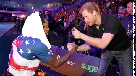 """Prince Harry today... sees his unique position as an opportunity to change things for the good,"" says Jackson. And the Invictus Games is one of those opportunities. Here, Harry is seen congratulating the US team after they won the Wheelchair Basketball gold at the 2017 Games in Toronto."
