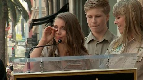 Steve Irwin's wife, daughter, son and snake received star on Hollywood Walk of Fame.