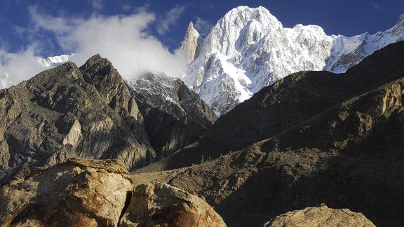 Iconic peaks: Ladyfinger Peak (the sharp peak on the left) and Hunza Peak (right) are two of the most iconic mountains in the Gilgit-Baltistan region.