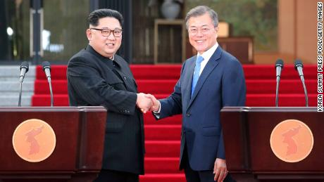 North Korean leader Kim Jong Un, left, and South Korean President Moon Jae-in shake hands after announcing the Panmunjom Declaration.