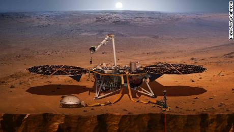 An artist's rendering of the InSight lander, set to launch May 5 from Southern California.