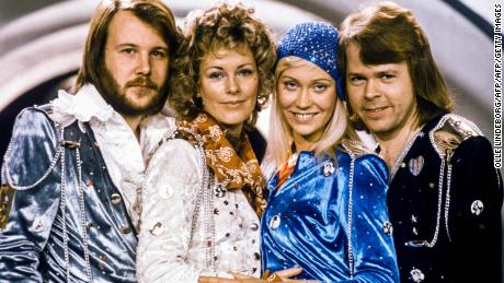 "Picture taken in 1974 in Stockholm shows the Swedish pop group Abba with its members (L-R) Benny Andersson, Anni-Frid Lyngstad, Agnetha Faltskog and Bjorn Ulvaeus posing after winning the Swedish branch of the Eurovision Song Contest with their song ""Waterloo"". Sweden's legendary disco group ABBA announced on April 27, 2018 that they have reunited to record two new songs, 35 years after their last single. The quartet split up in 1982 after dominating the disco scene for more than a decade with hits like ""Waterloo"", ""Dancing Queen"", ""Mamma Mia"" and ""Super Trouper"". / AFP PHOTO / TT News Agency / Olle LINDEBORG / Sweden OUTOLLE LINDEBORG/AFP/Getty Images"