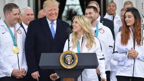 Amanda Kessel spoke with Trump on behalf of the women's ice hockey team
