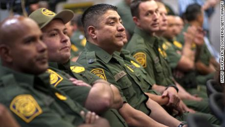 Border Patrol agents listened to Homeland Security Secretary Kirstjen Nielsen in California last month. Nielsen is among officials claiming the border is highly dangerous for agents.