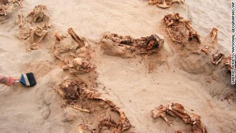 This April 22, 2011, photo provided by National Geographic shows more than a dozen bodies preserved in dry sand for more than 500 years, at the Huanchaquito-Las Llamas site near Trujillo, Peru.