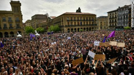 Thousands protest after men are cleared of rape in Spain's 'wolf pack' case