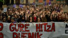 Women carried a sign in the basque language that said, ''Our Word',  during Saturday's protest in Pamplona. (AP Photo/Alvaro Barrientos)