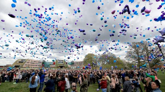 Balloons were released into the air to pay tribute to the terminally ill toddler.